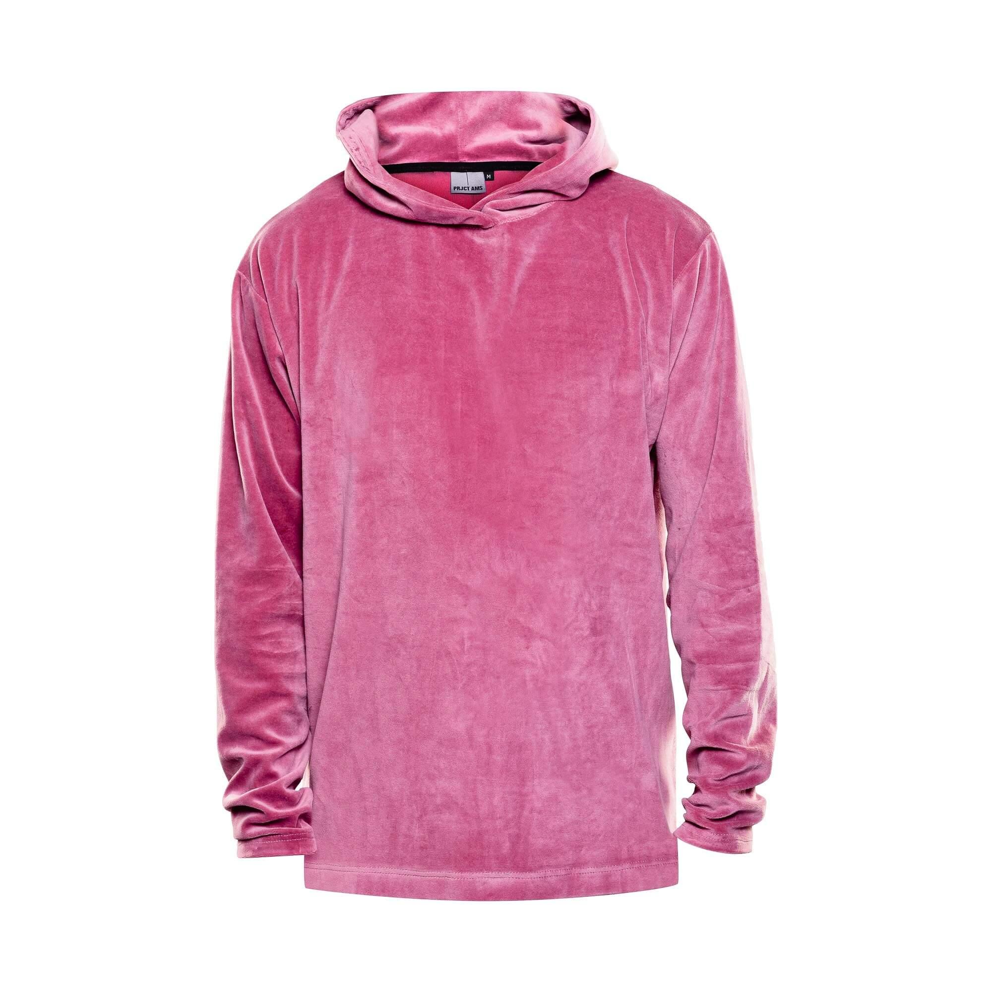 Hoodie velvet roze